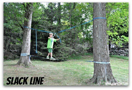 Backyard American Ninja Warrior Obstacle Course :  course in our backyard that matches the American Ninja Warrior theme