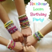 Great ideas for a rainbow loom birthday party- including free printable rainbow loom birthday part invites and thank you notes, ideas for a rainbow cake, and rainbow loom activities!
