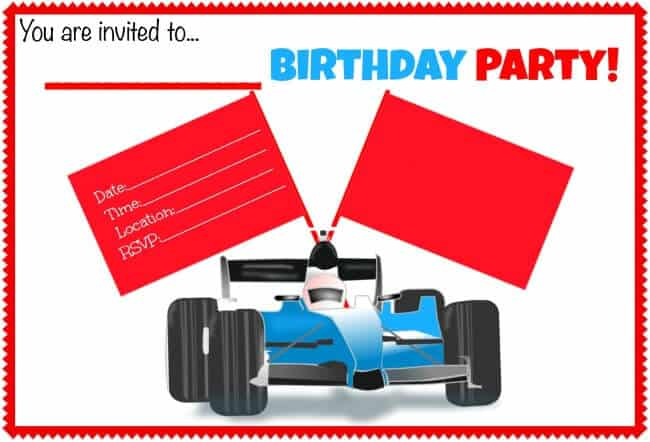 Blank Race Car Birthday Party Invite