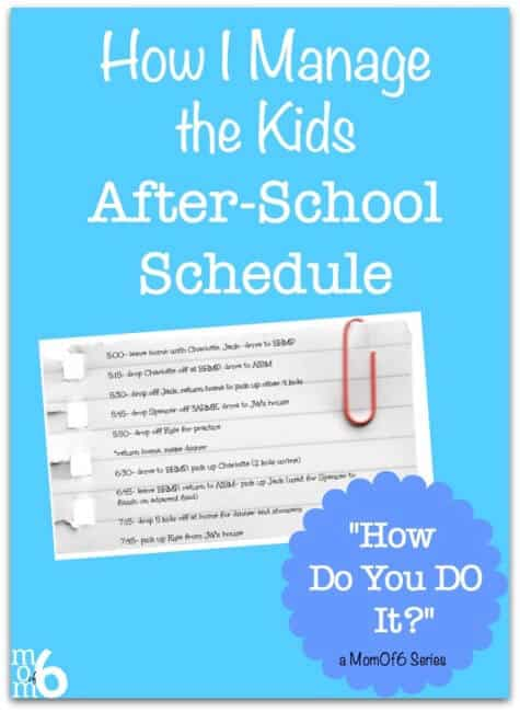 I know my approach to after school activities with my large family might be a little different than most of my friends. But it works for us. Here's how I manage the kids after-school schedule...
