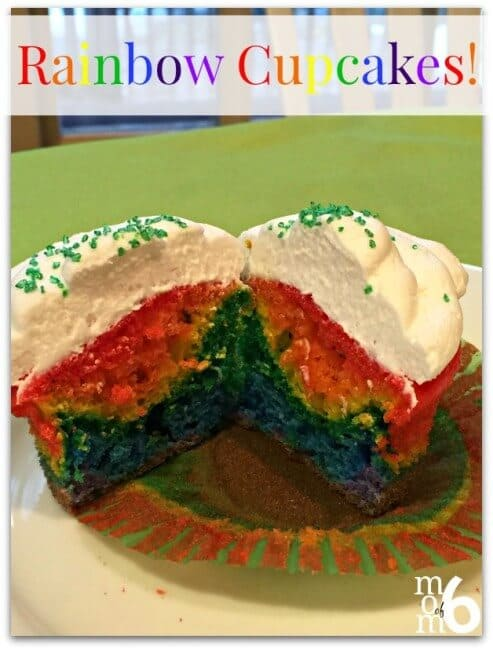 """This is more of a """"technique"""" than a recipe, but these rainbow cupcakes sure have a """"WOW"""" factor when the kids bite into them! Perfect for St Patrick's Day!"""