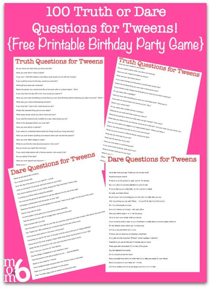 Truth Or Dare Questions For Teenage Party