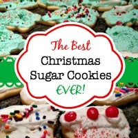 I believe that these Christmas sugar cookies are the perfect Christmas cookie. Especially when they are topped with a fluffy yummy-tasting frosting and a few sprinkles. (Or if you let your kids decorate them... a TON of sprinkles!)