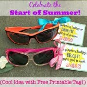 A little gift to celebrate the end of the school year and usher in the start of summer! The sunglasses with this cute printable tag would make for a fantastic end of year gifts for students or end of year gift for teachers too!