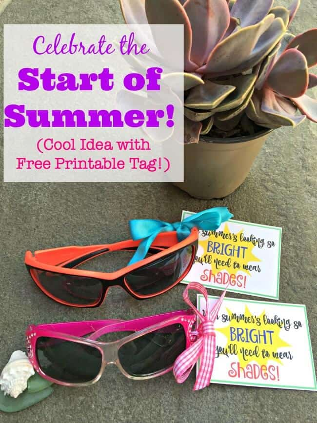 A little gift to celebrate the end of the school year and usher in the start of summer! The sunglasses with this cute printable tag would make for a fantastic end of year student gifts or end of year teacher gifts too!