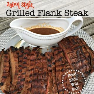 I love a good marinated steak recipe, because you simply mix up the marinade in the morning, pour it over the cut of beef, and then a half an hour before dinner, you grill. It is simple and so delicious. Here's our family recipe for Asian Style Grilled Flank Steak: