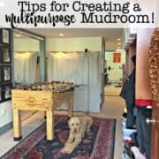 In a perfect world, every home would have a space dedicated as a mudroom- a place to store coats, shoes, and everything you need before you head out the door. But many homes don't have such a dedicated space- so here's how to create a mudroom space in a room that is already dedicated for another purpose!