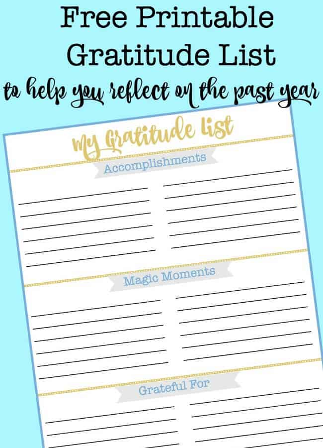 """How many of us make """"to do"""" lists every single day without ever stopping to celebrate what we actually got done? That's why I created a Gratitude List to start reflecting on my own past year. I am finding that it is a wonderful tool to use when you are ready to start thinking about goal setting for the next year!"""