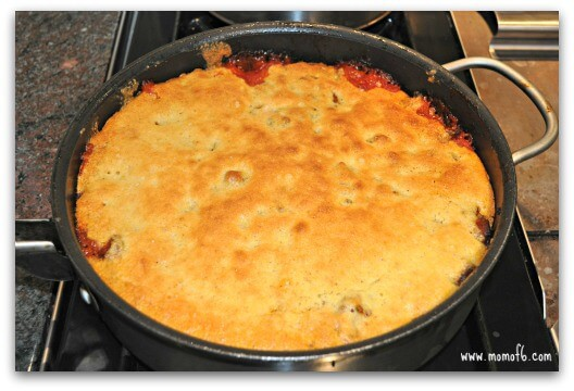 Beff, Tomato and Cornbread Bake- out of the oven